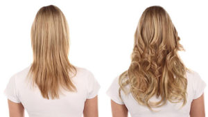 before after hair blond curly hair extensions