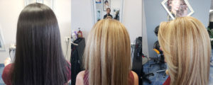 Before After Hair color dark to light Richmond Hill