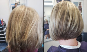 Before After Highlight hair cut Richmond salon